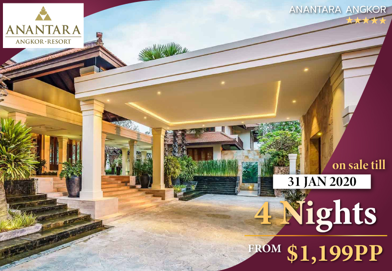 4 Nights in a Suite - Anantara Angkor Resort is a verdant all-suite boutique on the outskirts of Siem Reap. Located just 15 minutes from the UNESCO World Heritage Angkor Wat, this luxury hotel in Siem Reap entitles you with the privilege of spending your days exploring by tuk-tuk, Vespa or helicopter.