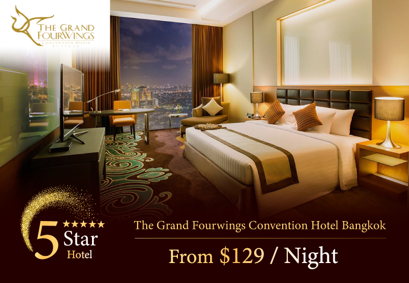 The Grand Fourwings Convention Hotel - A great offering from AM Holiday Travel starting at only $129 / Night. 20 minutes drive from Suvarnabhumi International Airport. Easy access by Rama 9 Express way or quick catch up to the center of Bangkok by the Airport Rail Link.