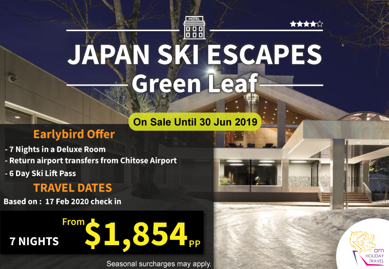 Japan Ski Escapes - An exclusive package from AM Holiday Travel at Green Leaf Hotel 7 nights starting at only $1,854.