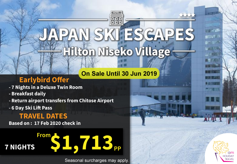 Japan Ski Escapes - 7 nights starting at only $1,713 at Hilton Niseko Village, a special deal from AM Holiday Travel. Hilton Niseko Village is the perfect location to enjoy a range of exciting outdoor activities, complete with the convenience of ski-in and ski-out access.