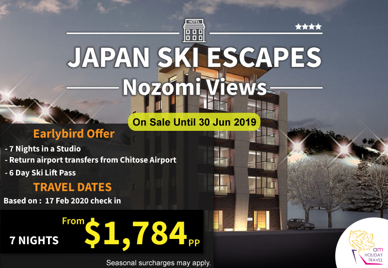 Japan Ski Escapes - AM Holiday Travel offering an another package at Nozomi Views Apartment 7 nights starting at only $1,784. Nozomi Views offers the latest in furnishings and fittings and outstanding levels of comfort, located on the main street in the village centre with easy access to shops and restaurants.