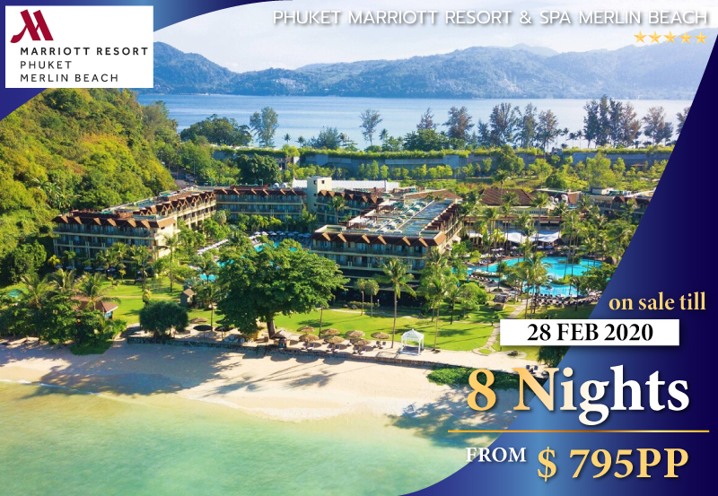 8 Nights in a Superior Lagoon Pool View Room - The Phuket Marriott Resort & Spa, Merlin Beach is perfectly situated on its own secluded stretch of white sand on Tri-Trang Beach. Restaurants, entertainment and shopping are only a short drive away at Patong Beach.This inviting 5 star resort features a wide range of facilities that are ideally suited for both couples and families.