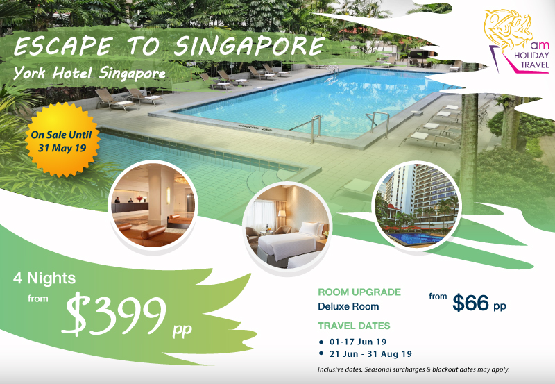 ESCAPE TO SINGAPORE - A great offering from AM Holiday Travel starting at only $399 at York Hotel Singapore. Discover a quiet urban oasis that feels worlds apart from the bustle of Singapore, yet just minutes from Orchard Road.