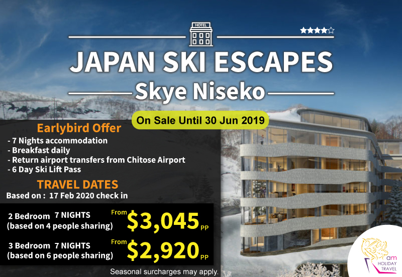 Japan Ski Escapes - AM Holiday Travel offer an exclusive package 7 nights starting at only $2,920 at Skye Niseko, the new level of alpine luxury in Niseko. Ski-in ski-out luxury design and service in an unbeatable, breathtaking location.