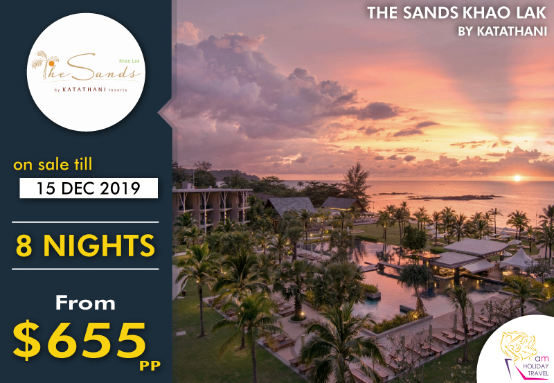 8 Nights in a Sands Room - Rest along the soft, golden sands at lively Nang Thong Beach, Khao Lak. Embraced by lush green hills, The Sands comprises a tropical beachfront paradise, approximately 60 minutes from Phuket International Airport.