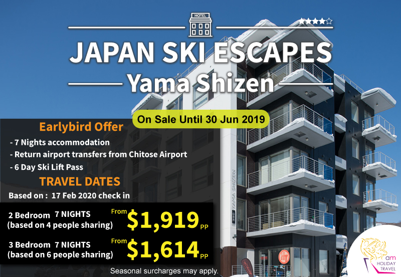 Japan Ski Escapes - Another special package from AM Holiday Travel at Yama Shizen Apartment 7 nights starting at only $1,614. It's located in upper Hirafu Village, with excellent access to the slopes, shopping, hot springs.
