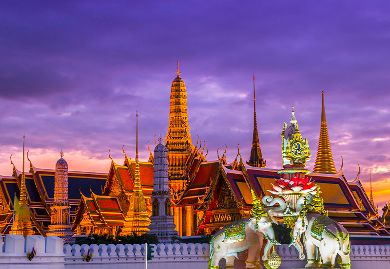 Bangkok Temples and Palace at Sunset