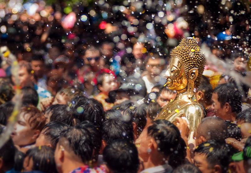 Buddha statue water ceremony in songkran festival April